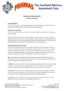 Team Selection Policy 150713 front page