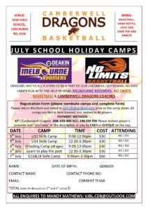 JULY SCHOOL HOLIDAY CAMPS